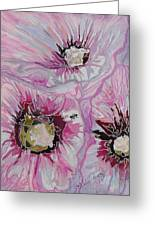 Ant Exploring Hollyhock Greeting Card by Jo Anne Neely Gomez