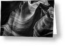 Antelope Canyon Waves Black And White Greeting Card