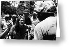 Anti-viet Nam War Protestor Confronting Smoking Marine Pro-war March Tucson Arizona 1970  Greeting Card