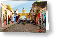 Antigua Guatemala Clock Greeting Card
