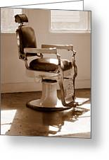 Antiquated Barber Chair In Sepia Greeting Card