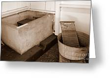 Antiquated Bathtub Washboard And Laundry Tub In Sepia Greeting Card