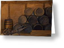Antique Barrels And Carte Greeting Card by Richard Jenkins