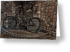 Antique Bicycle Greeting Card by Susan Candelario