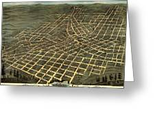 Antique Bird's-eye View Map Of Atlanta 1871 Greeting Card