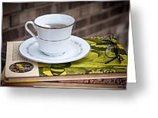 Antique Books And Tea Greeting Card