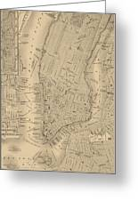Antique Boston Map 1842 Greeting Card