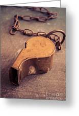 Antique Brass Military Whistle Greeting Card