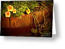 Antique Bucket With Yellow Flowers Greeting Card