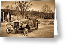 Antique Car At Service Station In Sepia Greeting Card