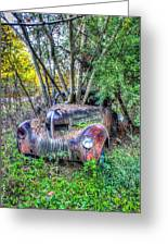 Antique Car With Trees In Windshield Greeting Card