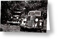 Antique Cars Black And White Greeting Card