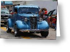 Antique Chevy Truck In Parade Greeting Card
