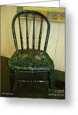 Antique Child's Chair With Quilt Greeting Card