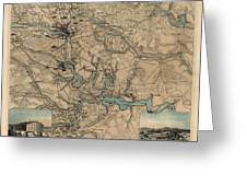 Antique Civil War Map Of Richmond And Petersburg Virginia By William C. Hughes - Circa 1864 Greeting Card