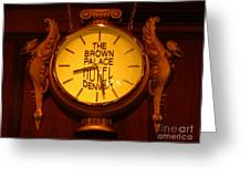 Antique Clock At The Bown Palace Hotel Greeting Card