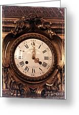 Antique Clock In Sepia Greeting Card