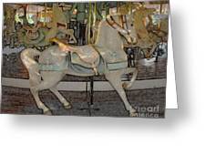 Antique Dentzel Menagerie Carousel Horse Colored Pencil Effect Greeting Card by Rose Santuci-Sofranko