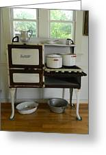 Antique Estate Stove With Cookware Greeting Card