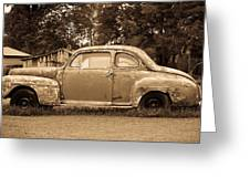 Antique Ford Car Sepia 1 Greeting Card