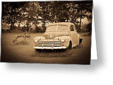 Antique Ford Car Sepia 2 Greeting Card