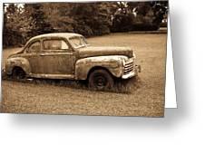 Antique Ford Car Sepia 4 Greeting Card