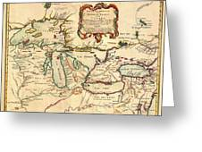 Antique French Map Of The Great Lakes 1755 Greeting Card