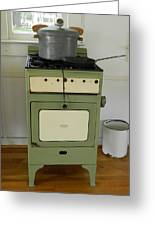 Antique Green Stove And Pressure Cooker Greeting Card