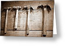 Antique Hammers Greeting Card