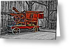 Antique Hay Baler Selective Color Greeting Card