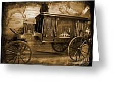 Antique Hearse As Tintype Greeting Card by Crystal Loppie