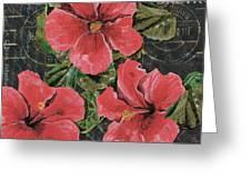 Antique Hibiscus Black 3 Greeting Card by Debbie DeWitt