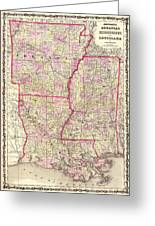 Antique Map Of Arkansas Mississippi And Louisiana Greeting Card