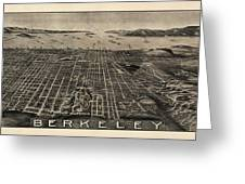 Antique Map Of Berkeley California By Charles Green - Circa 1909 Greeting Card