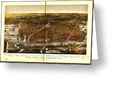 Antique Map Of Brooklyn Greeting Card