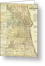Antique Map Of Chicago Greeting Card