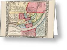 Antique Map Of Cincinnati Ohio By Samuel Augustus Mitchell 1863 Drawing By Blue Monocle