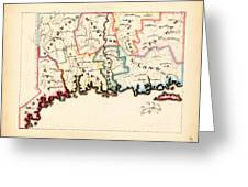 Antique Map Of Connecticut  Greeting Card