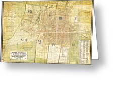 Antique Map Of Del Plano Oficial De La Ciudad De Mexico Greeting Card