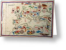 Antique Map Of Europa 1563 Greeting Card