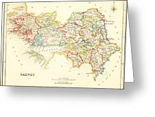 Antique Map Of Galway Ireland Greeting Card