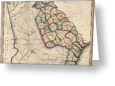 Antique Map Of Georgia By Samuel Lewis - Circa 1810 Greeting Card