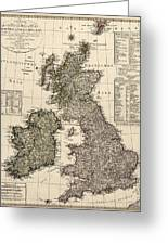 Antique Map Of Great Britain And Ireland By I. G. A. Weidner - 1801 Greeting Card