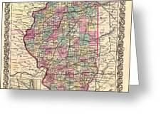 Antique Map Of Illinois 1855 Greeting Card
