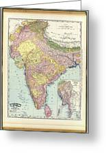 Antique Map Of India - Further India Greeting Card