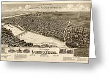 Antique Map Of Laredo Texas - Circa 1892 Greeting Card