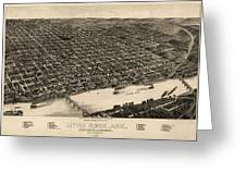 Antique Map Of Little Rock Arkansas By H. Wellge - 1887 Greeting Card