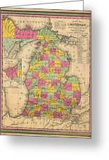 Antique Map Of Michigan 1853 Greeting Card