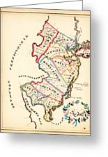 Antique Map Of New Jersey Greeting Card