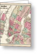 Antique Map Of New York City Greeting Card